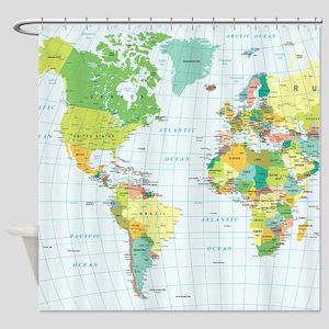 World Map - Americas Africa Europe Shower Curtain