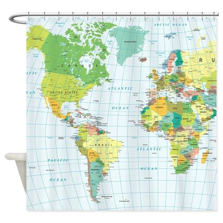 World Map Americas Africa Europe Shower Curtain By Admin Cp119312604