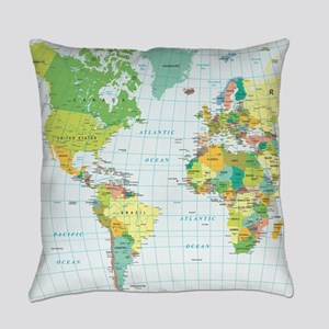 World Map - Americas Africa Europe Everyday Pillow
