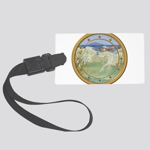 NEPTUNE HORSES CLOCK 3 Large Luggage Tag