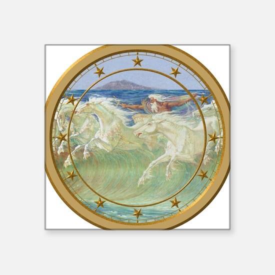 "NEPTUNE HORSES CLOCK 3.png Square Sticker 3"" x 3"""