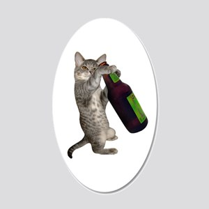 Cat Beer 20x12 Oval Wall Decal