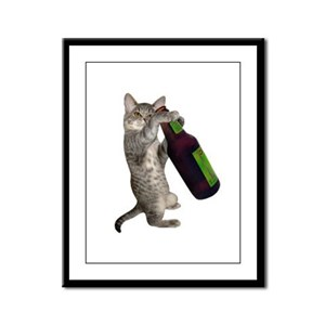 Cat Beer Framed Panel Print