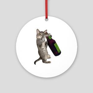 Cat Beer Ornament (Round)