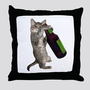 Cat Beer Throw Pillow