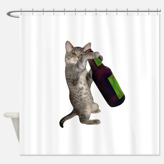 Cat Beer Shower Curtain