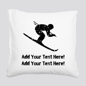 Personalize It, Skier Square Canvas Pillow