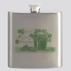 Vintage Green St Patricks Day Shamrock Hat Flask