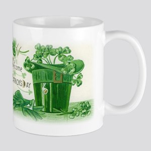 Vintage Green St Patricks Day Shamrock Hat Mug