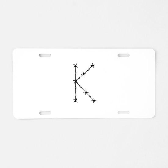 Barbed Wire Monogram K Aluminum License Plate