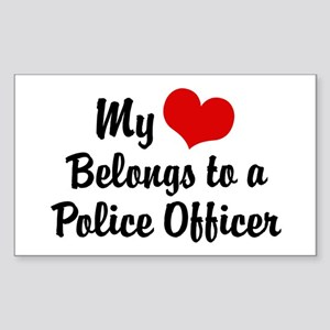 My Heart Belongs to a Police Officer Sticker (Rect