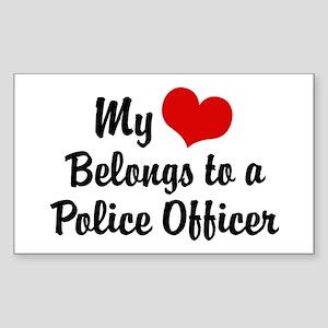 My Heart Belongs to a Police Officer Sticker (Rect