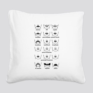 Moustache Chart Black Square Canvas Pillow