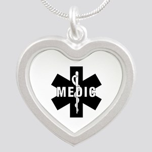 Medic EMS Star of L... Silver Heart Necklace