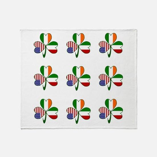 White Italian Shamrocks 9 Throw Blanket