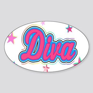 Colorful Diva Graffiti Art with Stars Sticker