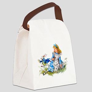 Alice_BLUE RABBIT copy Canvas Lunch Bag