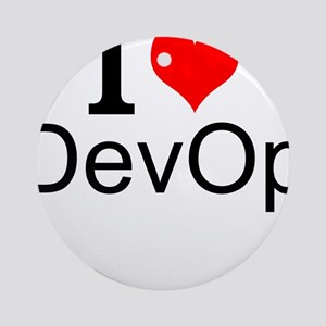 I Love DevOps Round Ornament