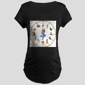 WONDERLAND_Clock Maternity Dark T-Shirt