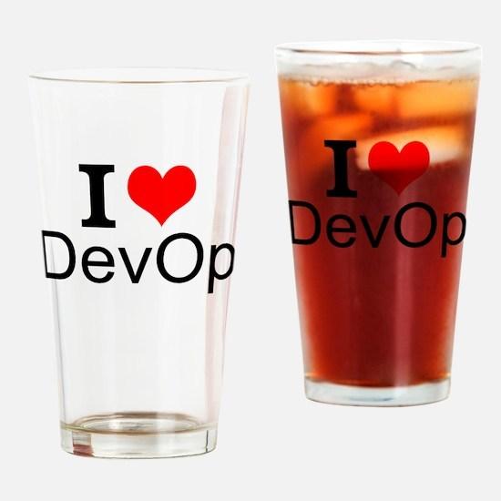 I Love DevOps Drinking Glass