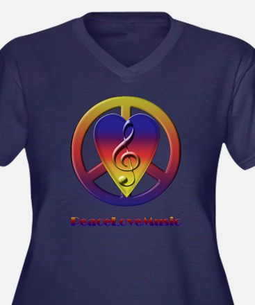 Peacelovemusic Women's Plus Size V-Neck Dark T-Sh