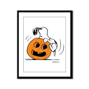 Snoopy Jack O' Lantern Framed Panel Print