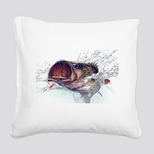 Bass Busting through Square Canvas Pillow