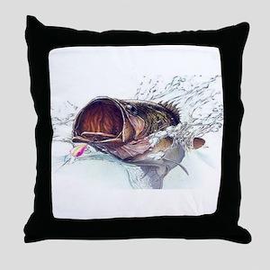 Bass Busting through Throw Pillow