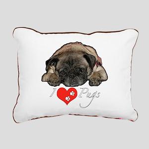 I love pugs Rectangular Canvas Pillow