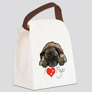 I love pugs Canvas Lunch Bag