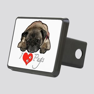 I love pugs Rectangular Hitch Cover