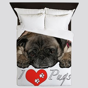 I love pugs Queen Duvet