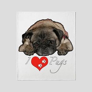 I love pugs Throw Blanket