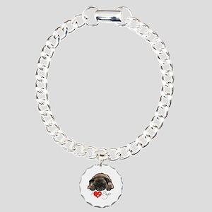I love pugs Charm Bracelet, One Charm