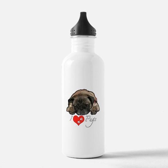 I love pugs Water Bottle