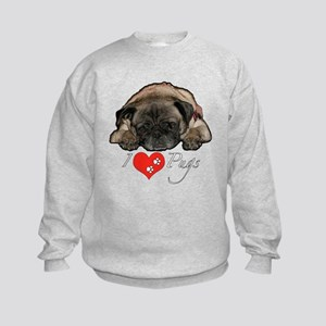 I love pugs Kids Sweatshirt