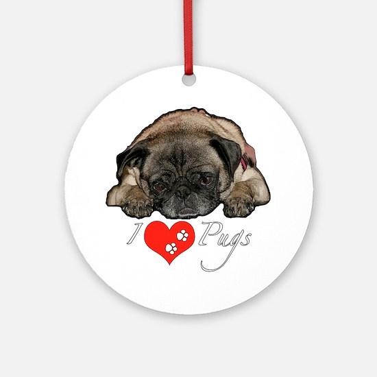 I love pugs Ornament (Round)