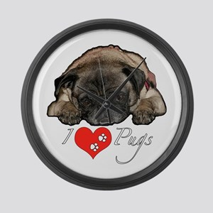 I love pugs Large Wall Clock