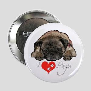 "I love pugs 2.25"" Button"