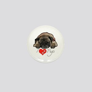 I love pugs Mini Button