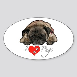 I love pugs Sticker (Oval)