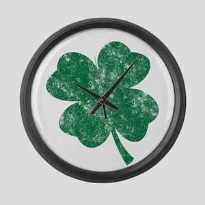 St Patrick's Shamrock Large Wall Clock