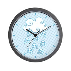 Cute Skull Raincloud Wall Clock