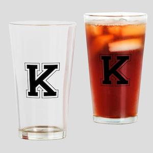 Collegiate Monogram K Drinking Glass