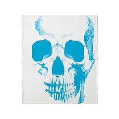 Blue Skull Face Throw Blanket