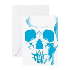 Blue Skull Face Greeting Card