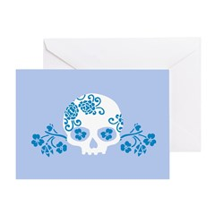 Skull With Blue Blossoms Card Greeting Cards