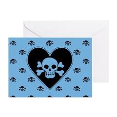Blue Skull Crossbones Heart Greeting Card