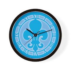 Blue Fleur De Lis Wall Clock