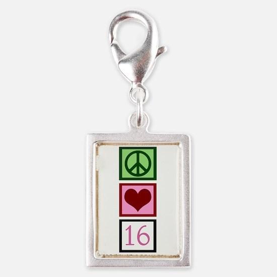 Peace Love Sweet 16 Silver Portrait Charm